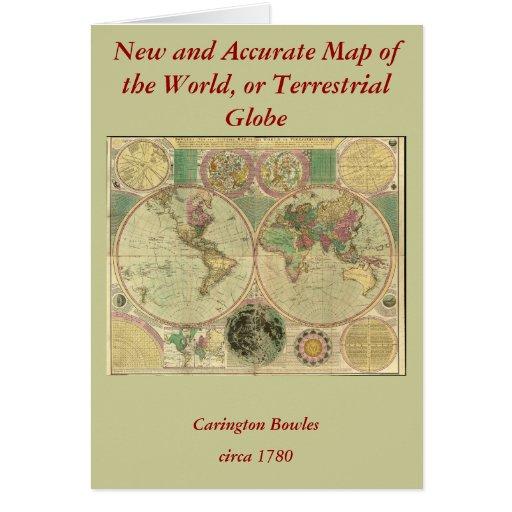 Antique World Map by Carington Bowles, circa 1780 Card