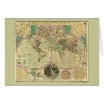 Antique World Map by Carington Bowles, circa 1780 Greeting Card