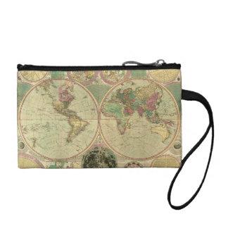 Antique World Map by Carington Bowles, circa 1780 Change Purse