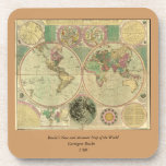 Antique World Map by Carington Bowles, circa 1780 Drink Coasters