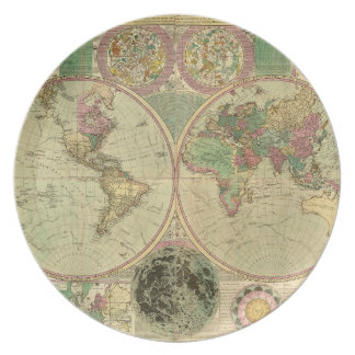 Antique World Map by Carington Bowles, circa 1780 Dinner Plate