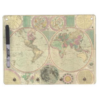Antique World Map by Carington Bowles, circa 1780 Dry Erase Board With Keychain Holder