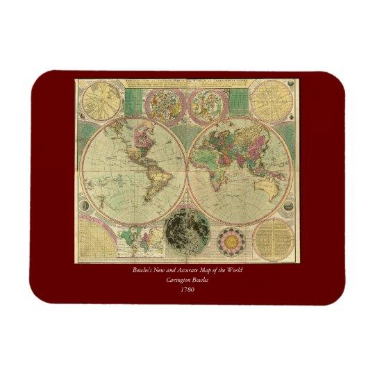 Antique World Map by Carington Bowles, circa 1780 Magnet
