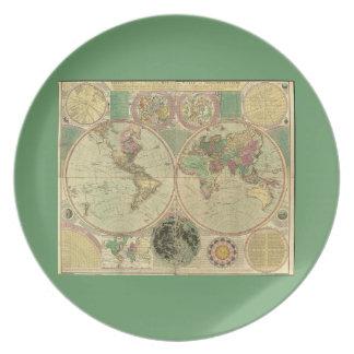 Antique World Map by Carington Bowles, circa 1780 Melamine Plate