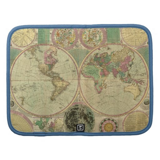 Antique World Map by Carington Bowles, circa 1780 Folio Planners