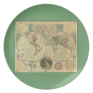 Antique World Map by Carington Bowles, circa 1780 Dinner Plates
