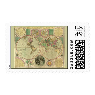 Antique World Map by Carington Bowles, circa 1780 Stamp