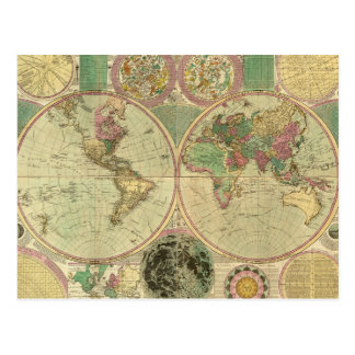 Antique World Map by Carington Bowles, circa 1780 Postcard