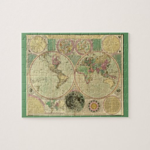 Antique World Map by Carington Bowles, circa 1780 Jigsaw Puzzle