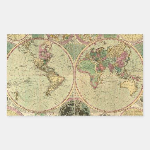 Antique World Map by Carington Bowles, circa 1780 Rectangular Sticker