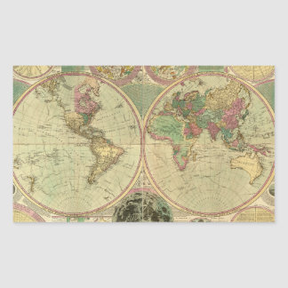 Antique World Map by Carington Bowles, circa 1780 Stickers