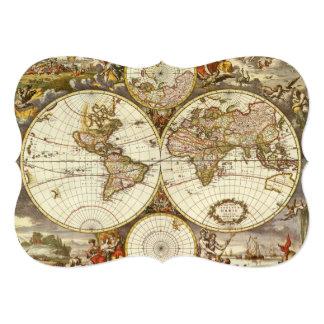 Antique World Map by Frederick de Wit Invitation