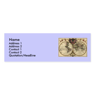 Antique World Map by Guillaume de L Isle 1720 Business Card Template