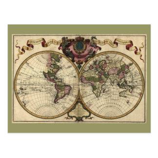 Antique World Map by Guillaume de L Isle 1720 Postcards