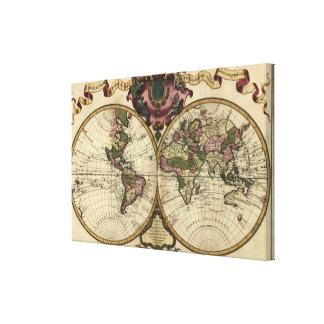 Antique World Map by Guillaume de L'Isle, 1720 Canvas Prints