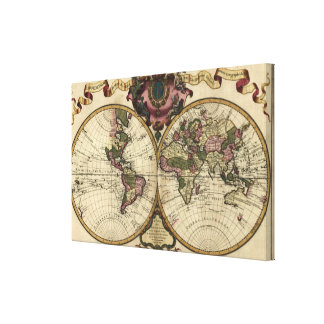 Antique World Map by Guillaume de L'Isle, 1720 Canvas Print