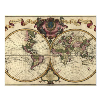 Antique World Map by Guillaume de L'Isle, 1720 Card