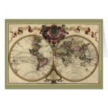 Antique World Map by Guillaume de L'Isle, 1720 Greeting Card
