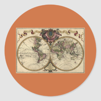 Antique World Map by Guillaume de L'Isle, 1720 Classic Round Sticker