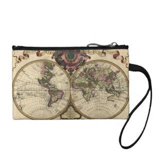 Antique World Map by Guillaume de L'Isle, 1720 Coin Purse