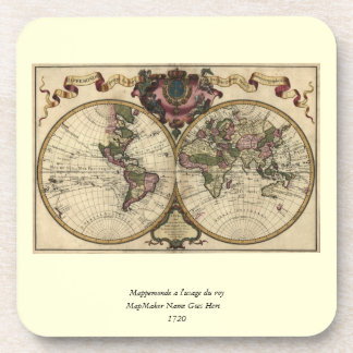 Antique World Map by Guillaume de L'Isle, 1720 Beverage Coasters