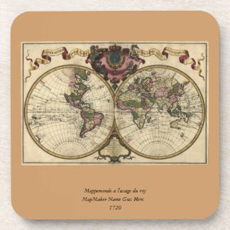 Antique World Map by Guillaume de L'Isle, 1720 Drink Coaster