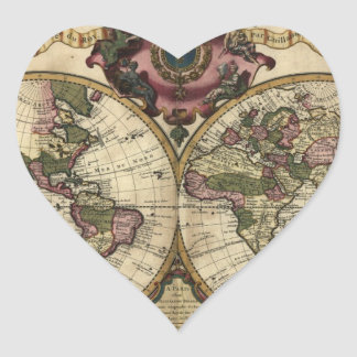 Antique World Map by Guillaume de L'Isle, 1720 Heart Sticker