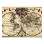 Antique World Map by Guillaume de L'Isle, 1720 Custom Invites