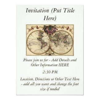 Antique World Map by Guillaume de L'Isle, 1720 6.5x8.75 Paper Invitation Card