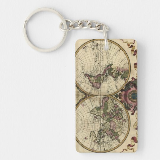 Antique World Map by Guillaume de L'Isle, 1720 Keychain