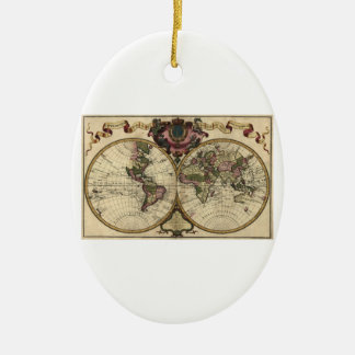 Antique World Map by Guillaume de L'Isle, 1720 Christmas Tree Ornaments