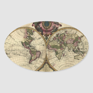 Antique World Map by Guillaume de L'Isle, 1720 Oval Sticker