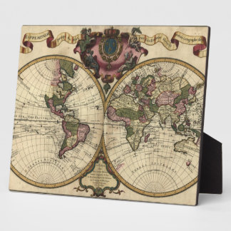 Antique World Map by Guillaume de L'Isle, 1720 Display Plaque