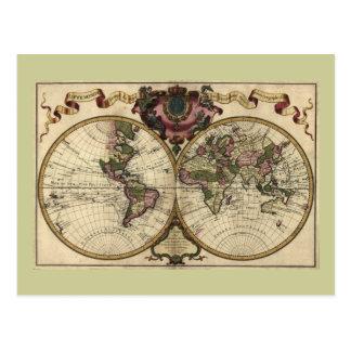 Antique World Map by Guillaume de L'Isle, 1720 Postcard