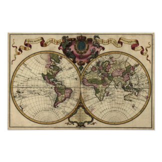Antique World Map by Guillaume de L'Isle, 1720 Poster