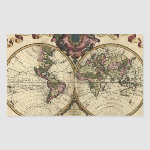 Antique World Map by Guillaume de L'Isle, 1720 Rectangular Sticker