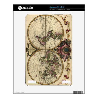 Antique World Map by Guillaume de L'Isle, 1720 Kindle 2 Decal