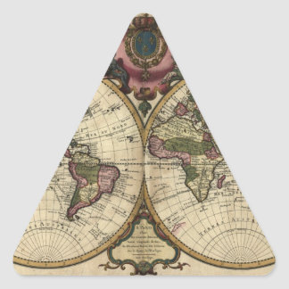 Antique World Map by Guillaume de L'Isle, 1720 Triangle Sticker