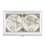 Antique World Map by Hendrik Hondius, 1630 Business Card Holder