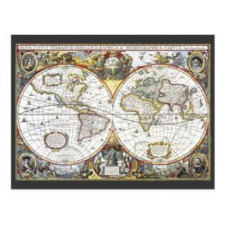 Antique World Map by Hendrik Hondius, 1630 Postcard