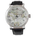 Antique World Map by Hendrik Hondius, 1630 Wrist Watch