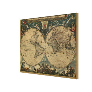 Antique World Map by Joan Blaeu, circa 1664 Canvas Print