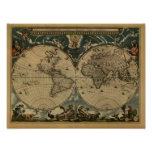 Antique World Map by Joan Blaeu, circa 1664 Poster
