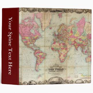 Antique World Map by John Colton, circa 1854 3 Ring Binder