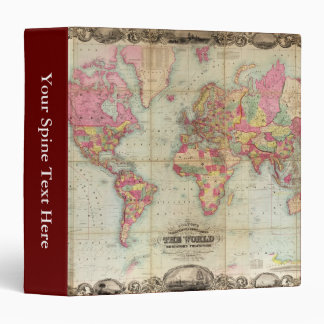 Antique World Map by John Colton, circa 1854 Binder