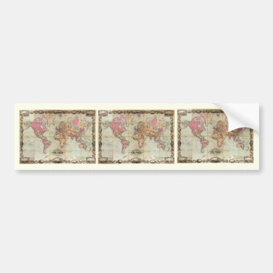 Antique World Map by John Colton, circa 1854 Bumper Sticker