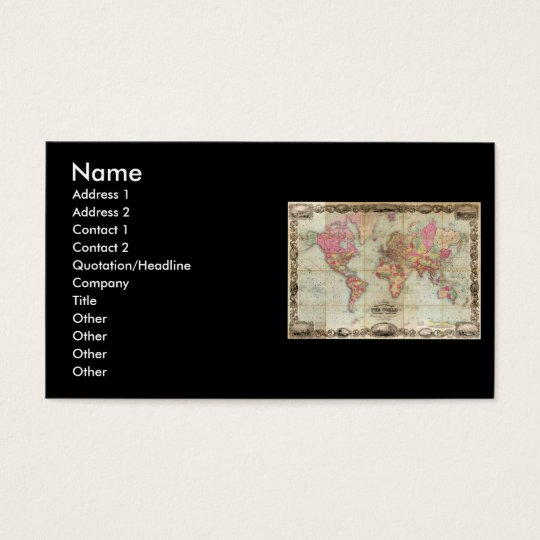 Antique World Map by John Colton, circa 1854 Business Card