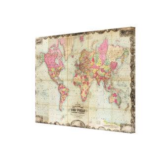 Antique World Map by John Colton, circa 1854 Canvas Prints