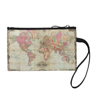 Antique World Map by John Colton, circa 1854 Change Purse