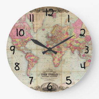 Antique World Map by John Colton, circa 1854 Round Wallclocks
